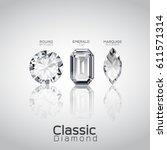 round brilliant  emerald cut ...   Shutterstock .eps vector #611571314
