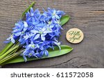 hello april greeting card with... | Shutterstock . vector #611572058