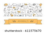 linear concept for pets and... | Shutterstock . vector #611575670