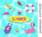 summer set  pool party   flat... | Shutterstock .eps vector #611576228