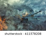two tanks on the battlefield at ... | Shutterstock . vector #611578208