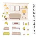 modern interior design concept... | Shutterstock .eps vector #611579030