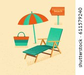 illustration of a vacation at... | Shutterstock . vector #611579240