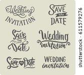 set of hand drawn lettering... | Shutterstock .eps vector #611579276