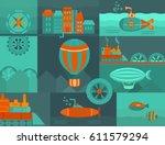 background steampunk. set of...   Shutterstock . vector #611579294