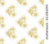 gold kiwi and kiwi flowers... | Shutterstock .eps vector #611581094