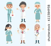 hospital workers set. medical... | Shutterstock .eps vector #611584958