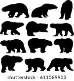 polar bear silhouette contour   Shutterstock .eps vector #611589923