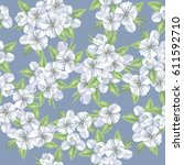 seamless cute pattern with... | Shutterstock .eps vector #611592710