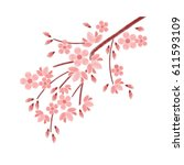 embroidery stitches with cherry ...   Shutterstock .eps vector #611593109