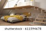 loft mezzanine scandinavian... | Shutterstock . vector #611594678
