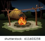 teapot on bonfire. night camping | Shutterstock . vector #611603258