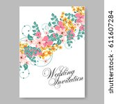 wedding invitation card... | Shutterstock .eps vector #611607284