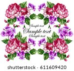 floral baroque frame with... | Shutterstock .eps vector #611609420
