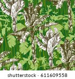pattern with tropical jungle...   Shutterstock .eps vector #611609558