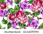 floral baroque pattern with... | Shutterstock .eps vector #611609594