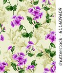 classic rococo flower patter... | Shutterstock .eps vector #611609609