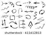 set of grunge hand drawn arrows ... | Shutterstock . vector #611612813