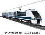modern city electric train. 3d... | Shutterstock . vector #611613368