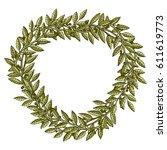 bay branch vintage wreath in... | Shutterstock .eps vector #611619773