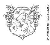 vector image of a heraldic... | Shutterstock .eps vector #611623250