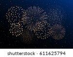 firework show on night sky... | Shutterstock . vector #611625794