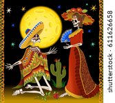 day of the dead illustration. a ... | Shutterstock .eps vector #611626658