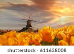 traditional dutch windmill with ... | Shutterstock . vector #611628008