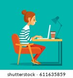 girl freelancer working at home ... | Shutterstock .eps vector #611635859