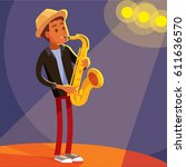 jazz musician at the stage | Shutterstock .eps vector #611636570