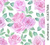 watercolor flower pattern | Shutterstock . vector #611637686
