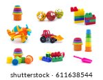 collage of plastic toys for... | Shutterstock . vector #611638544