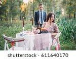 dinner at sunset. beautiful... | Shutterstock . vector #611640170
