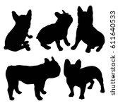 Stock vector bulldog silhouette animal black vector illustration 611640533