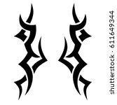 tattoo sketch tribal vector... | Shutterstock .eps vector #611649344