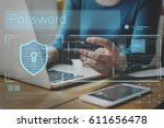 data security system shield... | Shutterstock . vector #611656478