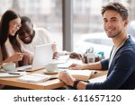 studying together. young... | Shutterstock . vector #611657120
