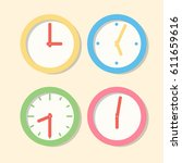 collection wall clock patterns. ... | Shutterstock .eps vector #611659616
