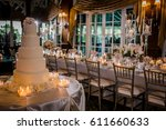 wedding cake at reception | Shutterstock . vector #611660633