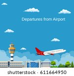 airplane takes off from the... | Shutterstock .eps vector #611664950