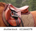 beautiful red leather english... | Shutterstock . vector #611666378