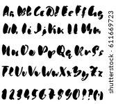 hand drawn dry brush font.... | Shutterstock .eps vector #611669723