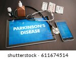 Small photo of Parkinson's disease (neurological disorder) diagnosis medical concept on tablet screen with stethoscope.