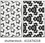 vector monochrome seamless... | Shutterstock .eps vector #611676218