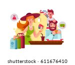 young family shopping | Shutterstock .eps vector #611676410