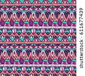 fabric pattern. tribal ornament.... | Shutterstock .eps vector #611677439
