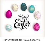easter color eggs | Shutterstock .eps vector #611680748