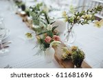 on a serving buffet table there ... | Shutterstock . vector #611681696