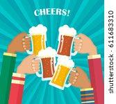 human hands toasting beer.... | Shutterstock .eps vector #611683310