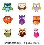 vector owls | Shutterstock .eps vector #611687078